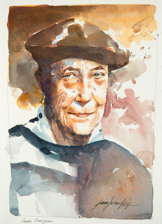Louise Bourgeois. Une série de portraits à l'aquarelle en hommage aux grands artistes du 19 ème au 20 ème siècle. Le lien vers mon blog : www.humericbox.com