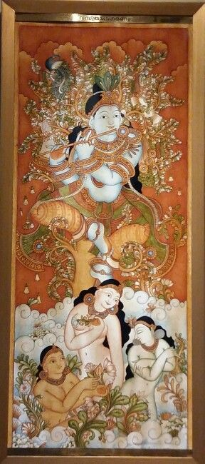 """""""Lord Krishna Steals the Clothes of the Gopis. """" A modern Keralite Painting from India."""