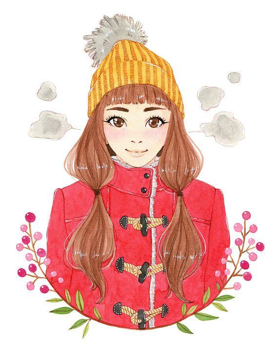 Winter girl portrait  watercolor print by milkyink on Etsy