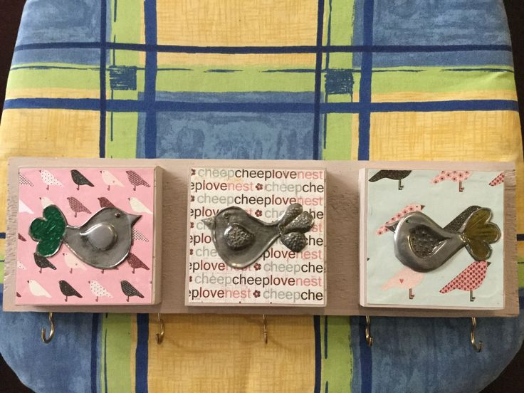 Pewter birds for your keys or dish towels. By heather@8532