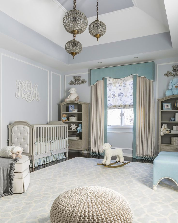 A glamorous blue Royal Nursery fit for a Prince! Love how the shades of aqua, blue and cream come together.