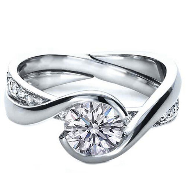 Twisted Criss-cross Pave diamonds Engagement ring & Interlocking Wedding Ring - ES941BRWG