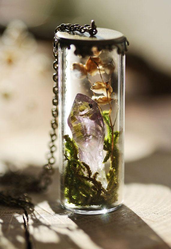 Crystal terrarium necklace raw Amethyst by RubyRobinBoutique