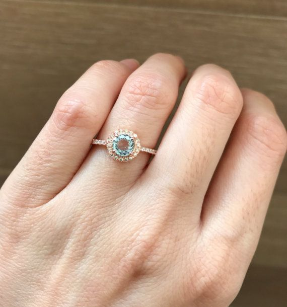 Rose Gold Aquamarine Engagement Ring Classic Halo by Belesas