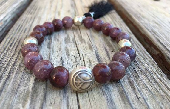 Peace and Love / Ruby Beaded Bracelet with Sterling Silver Peace Bead and Tassel