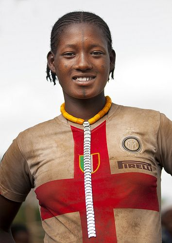 Darashe Tribe woman with Inter Milan football shirt, Omo Valley, Ethiopia