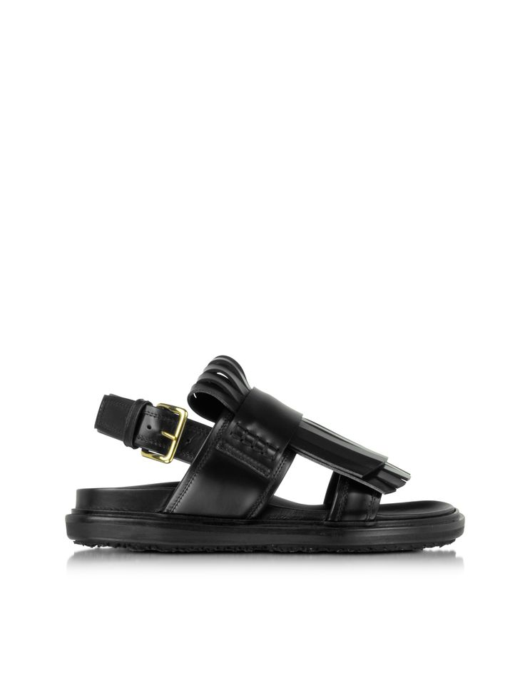 Marni Fussbett Carbone Leather Sandal w/Staggered Double Fringes 36 (6 US | 3 UK | 36 EU) at FORZIERI