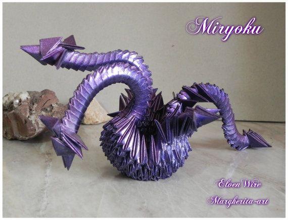 Drago Origami Modulare Viola fatto a mano origami drago