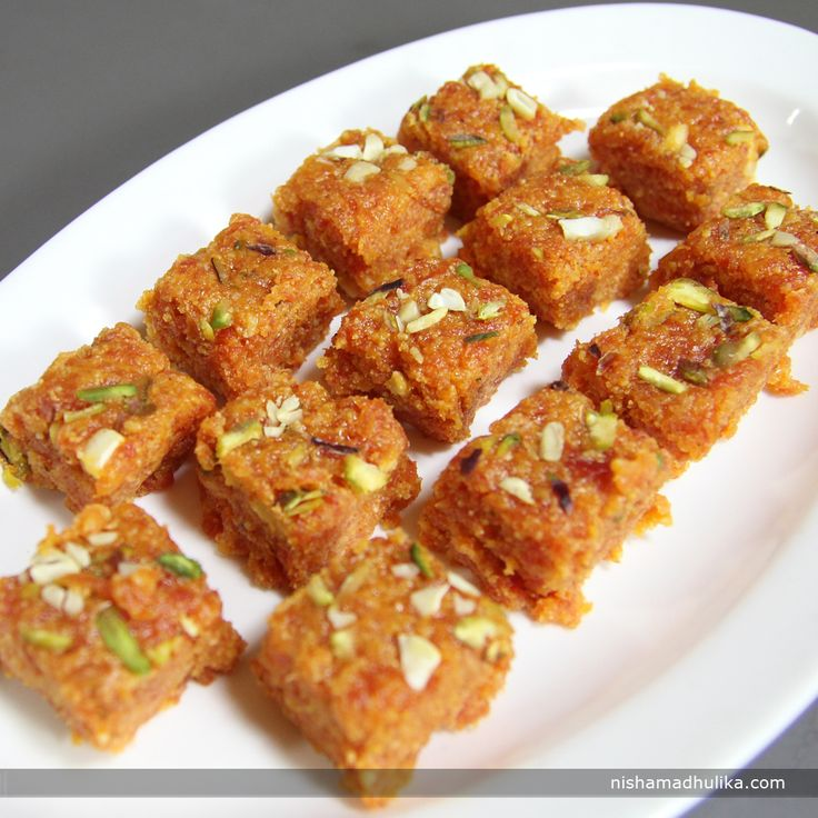 Gajar barfi is a classic and great Indian dessert prepared with fresh carrots, mawa and milk. Recipe in English - http://indiangoodfood.com/1661-carrot-burfi-recipe.html (copy and paste into your browser) Recipe in Hindi -  http://nishamadhulika.com/1120-gajar-barfee-recipe.html (copy and paste into your browser)