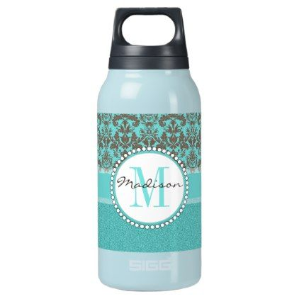 Turquoise Brown Damask  teal turquoise glitter Insulated Water Bottle - gift for her idea diy special unique