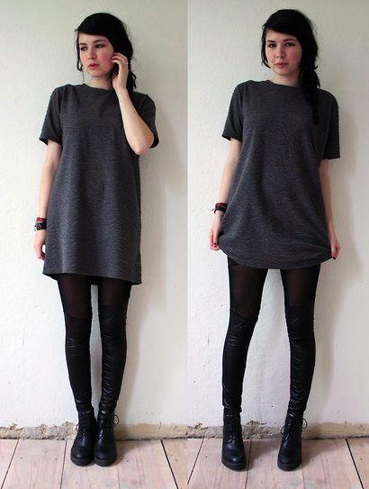 dark grey oversized tshirt with black leggings and black