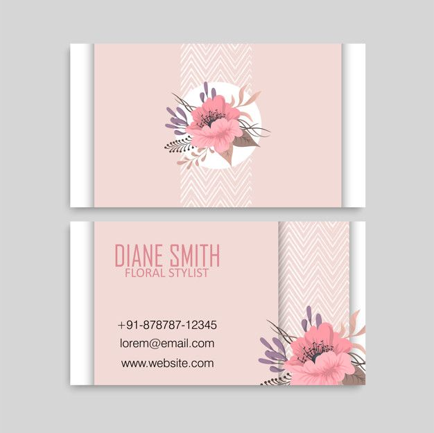 Cute Floral Pattern Business Card Name Card Design Template With