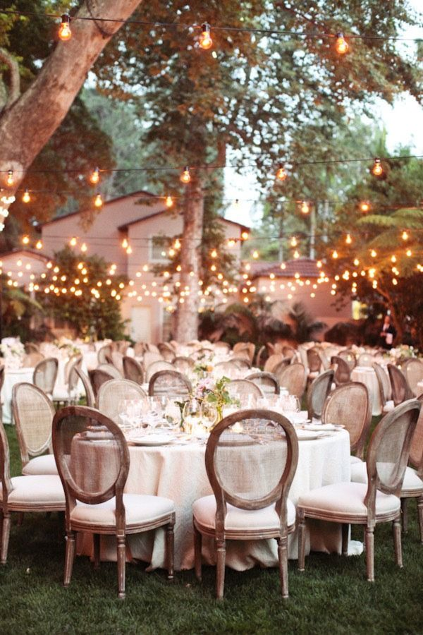 Dreamy outdoor wedding reception with glowing cafe lights. #wedding #lighting
