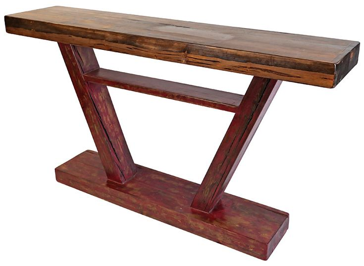 This Handcrafted Rustic Sofa Table With V Shaped Base, Rustic Red Patina  And Natural Top Can Also Be Used As A Standing Bar Table.
