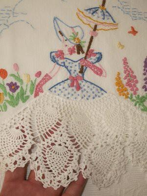 vintage linen pineapple pattern crochet making skirt for doilie maiden