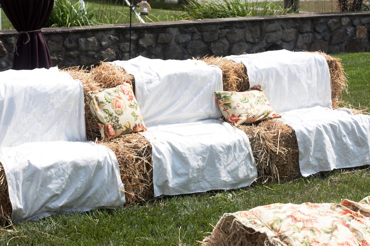 Outdoor reception idea: Make your own hay bale couches... only if flowers were somehow incorporated!