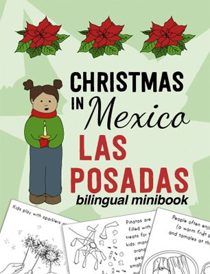 """Learn about the traditions and essential elements of """"Las Posadas"""" (a celebration for Christmas in Mexico) with this bilingual book kids can color."""