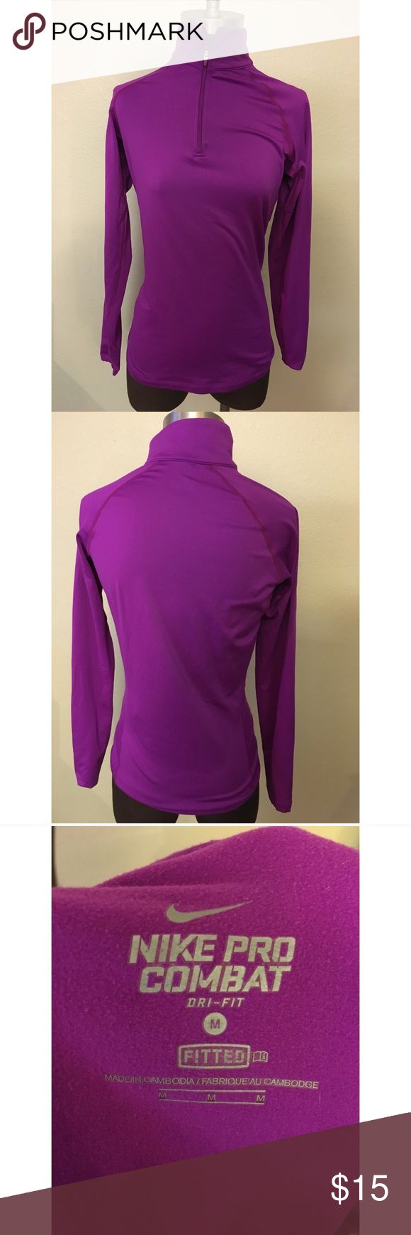 Nike Pro purple zip up Nike Pro purple zip up size medium in grey condition! Super cute and comfortable! Nike Tops