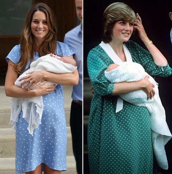Princess Diana and Kate both wore polka dot dresses when they showed their babies to the world! #polkadots  Love them both!  So classy!  Love that they aren't afraid to show what real women look like after giving birth :)