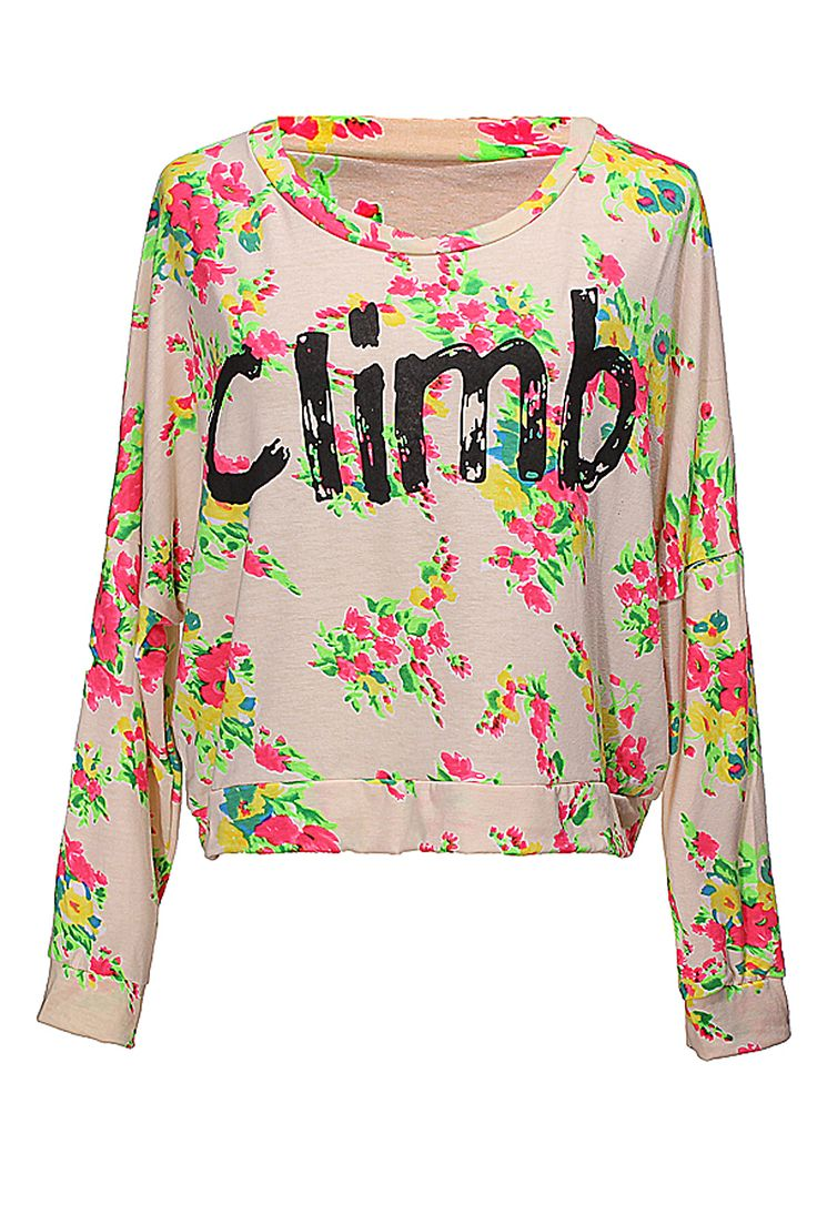 BG-impression Batwing Floral Climb Print T-Shirt