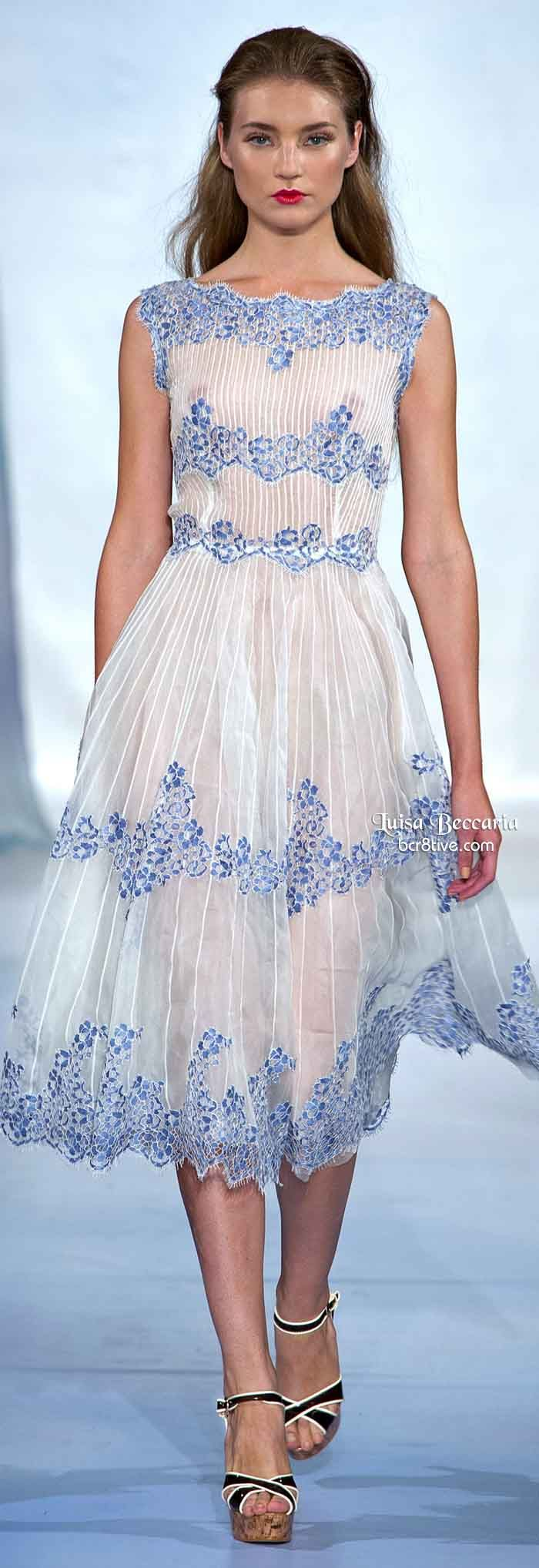 Luisa Beccaria Spring 2014...Beautiful details. Imagine this in your wedding colors. Ask your seamstress for suggestions.