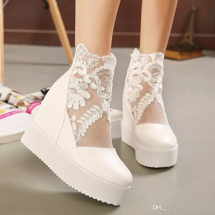 New White Lace Wedding Boots Silver Bridal Pumps Wedge Ankle Boots Size 34 to 39 WX Wedding Shoes 2017 Wedding Boots Bridal Shoes Online with $32.1/Pair on Tradingbear's Store | DHgate.com