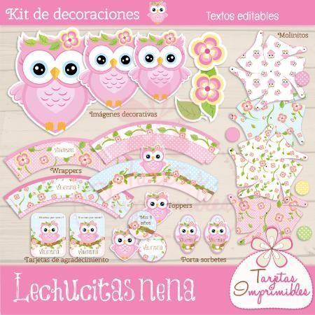 Kit de decoraciones para cumpleaños de niñas para imprimir ...