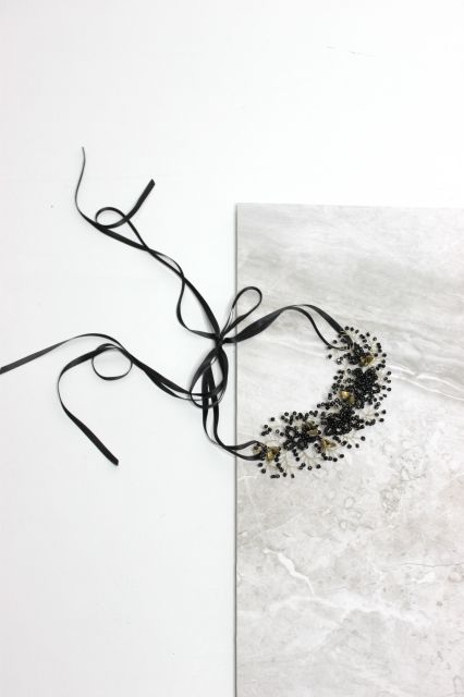 Decolove Weaved Dew Evening Headpiece Hand wired from black crystals, glass beads and brass
