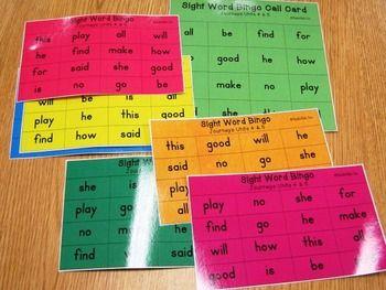 Journeys Kindergarten Sight Word Bingo - Units 4 & 5