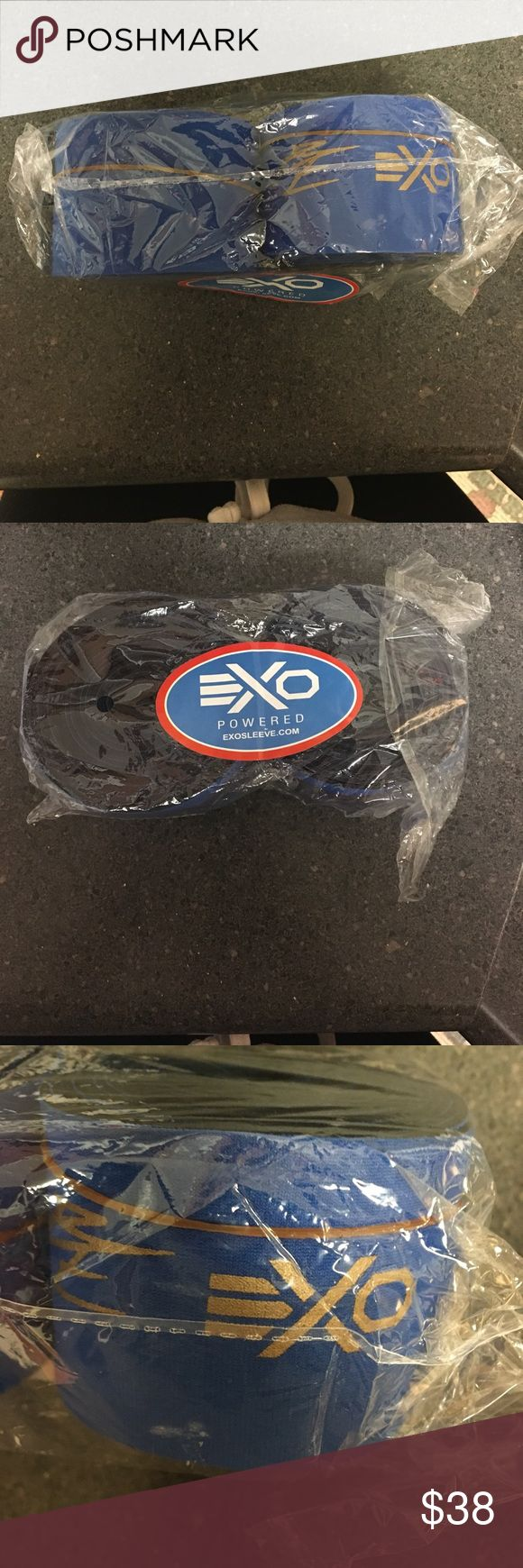 Knee wraps Brand new in package knee wraps by exo sleeve. These are the Brooke ence edition, blue with gold writing. Size small tagged: knee sleeves weightlifting exo sleeve Accessories