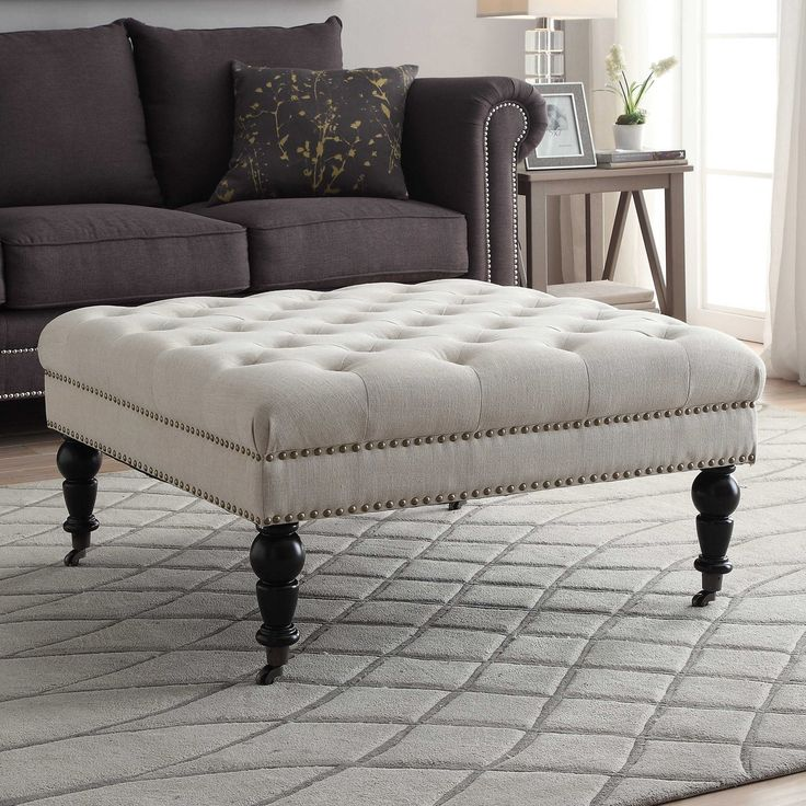 Linon Isabelle Tufted Square Ottoman - The Linon Isabelle Tufted Square Ottoman will serve your living area well as extra seating or as an exceptionally lavish coffee table. This extra-larg...