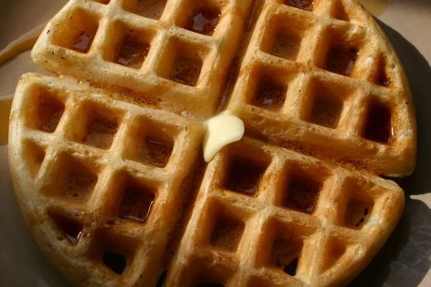 Crispy Seltzer Waffles -- this works great with 2 cups of Bisquick or homemade biscuit mix in place of the flour, and a bit less sugar.  Be sure your waffle iron is hot and let them cook about 30 more than when the waffle iron says they are ready.  Extras freeze well and reheat in a slow oven.  Lemon seltzer water works wonderfully!