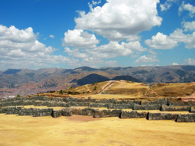 Sacsayhuamán is an Inca walled complex high above the city of Cusco in Peru