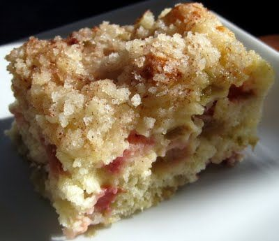 So here's the thing, if you have rhubarb in your yard, you need to drop whatever you're doing and make this.  Immediately.  If you don't feel this is for you, then bring me your rhubarb so I can make more.  I need to step away from the pan...Rhubarb Cake