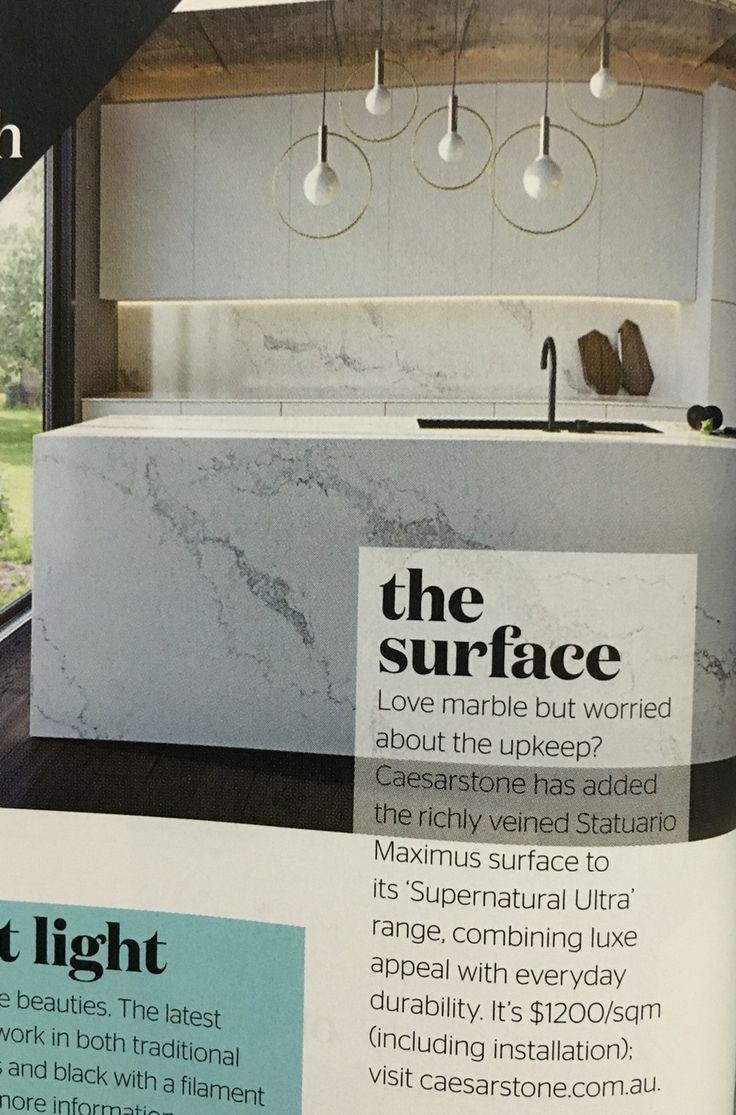 "Want marble but cheaper & more durable... Caesarstone's ""Statuario Maximus"" in their ""Supernatural Ultra"" range. $1200/sqm inc installation www.caesarstone.com.au"