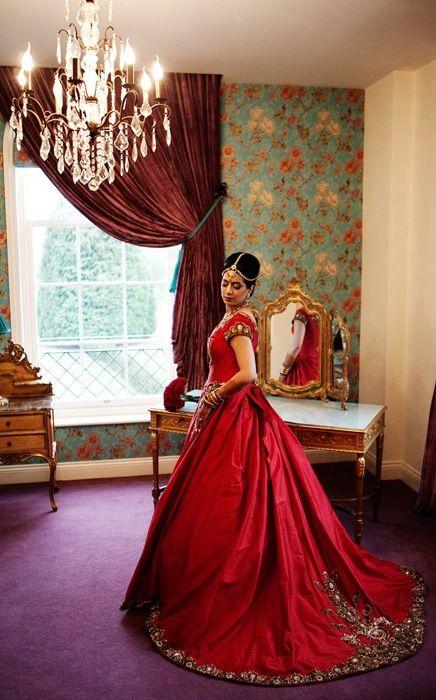 #weddings. Red wedding dress, red indian bride