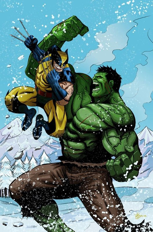Hulk vs. Wolverine Comic Art - loom wolverine (yellow, black and blue) hulk (green and purple)