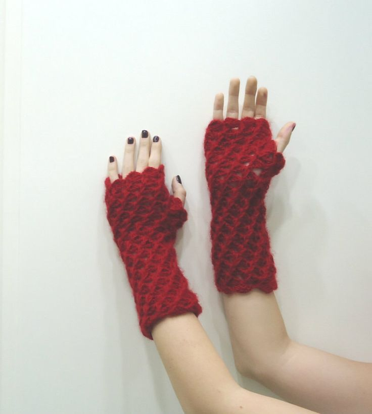 A personal favourite from my Etsy shop https://www.etsy.com/listing/121391292/crochetred-fingerless-glove-mittensarm