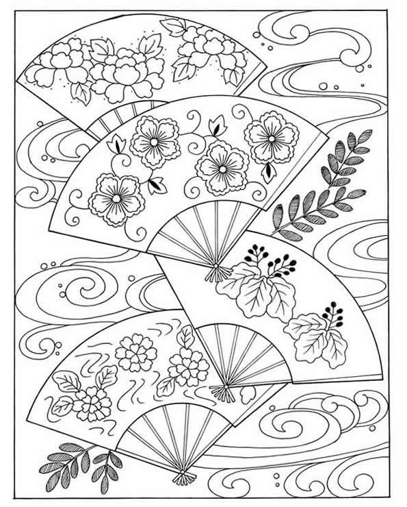 Asian fans coloring page inkspired musings japan poems culture paperdolls and vintage clip