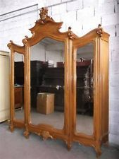 """MONUMENTAL CARVED ITALIAN ANTIQUE VICTORIAN BEDROOM SET ARMOIRE - 14IT014A Big enough for 36"""" fridge, 24"""" freezer, 23"""" cupboard"""