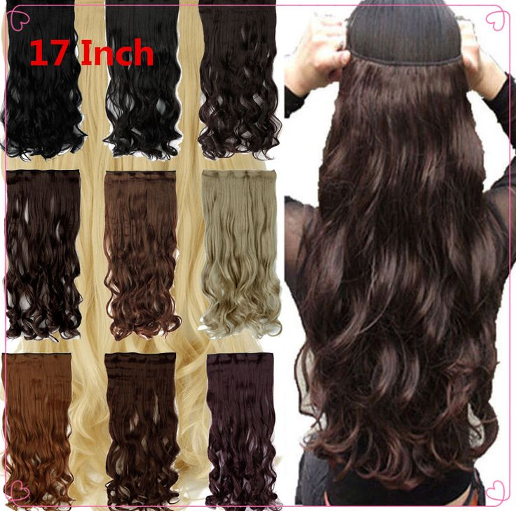 Amazing Fashion 17Inch Curly Wavy 3/4 Half Full Head Real Clips on HairPiece Synthetic 5 Clip in Hair Extension One Piece blonde