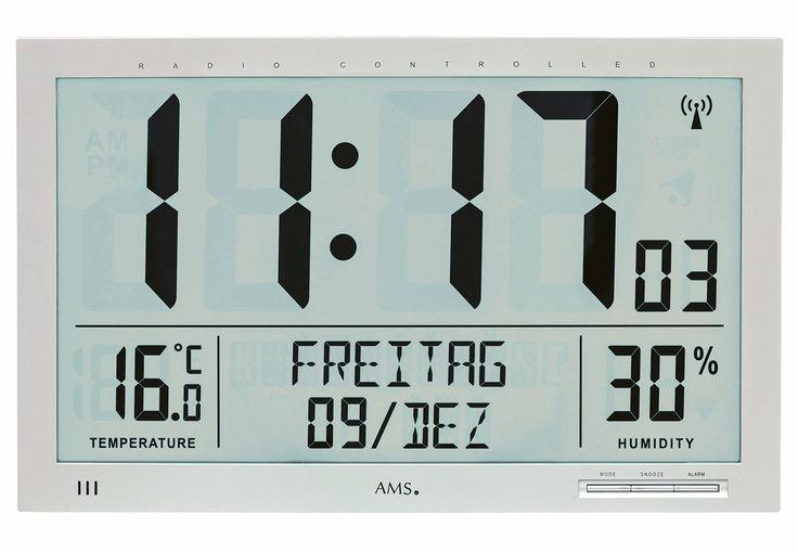 AMS 5888 Wandklok Zendergestuurd, Hygrometer en Thermometer. De klok kan in het Nederlands ingesteld worden. Deze moderne digitale klok is voorzien van een zendergestuurd uurwerk (radio-controlled) en heeft naast een thermometer ook een hygrometer die de luchtvochtigheid kan meten. De klok is 23 cm hoog x 37 cm breed x 3 cm dik. De aanwezige funkties zijn de uren, minuten, secondes, dag van de week, temperatuur en luchtvochtigheid. De kunststofbehuizing is zilverkleurig. De wijzerplaat is…
