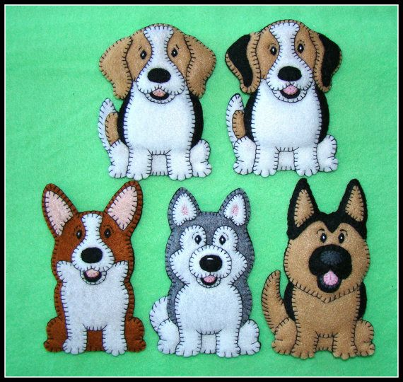Corgi puppy-handmade felt-embroidered Christmas by justsue on Etsy