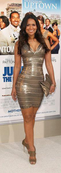 Tracey Edmonds in a golden sequined bandage dress http://www.misscircle.com/Dresses/Bandage-Dress/H162MC47.html