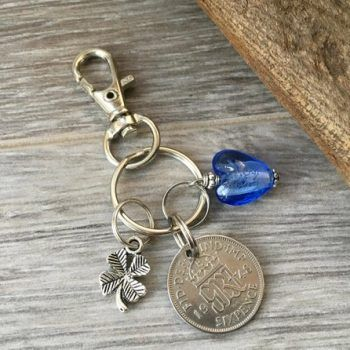 70th Birthday Gift Woman 1948 Lucky Sixpence Keychain Keyring Bag Clip