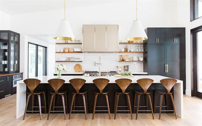 Download wallpapers kitchen interior, modern design, kitchen studio, modern bright interior