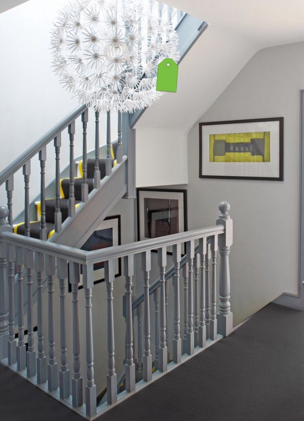 Grey painted bannister and ikea light