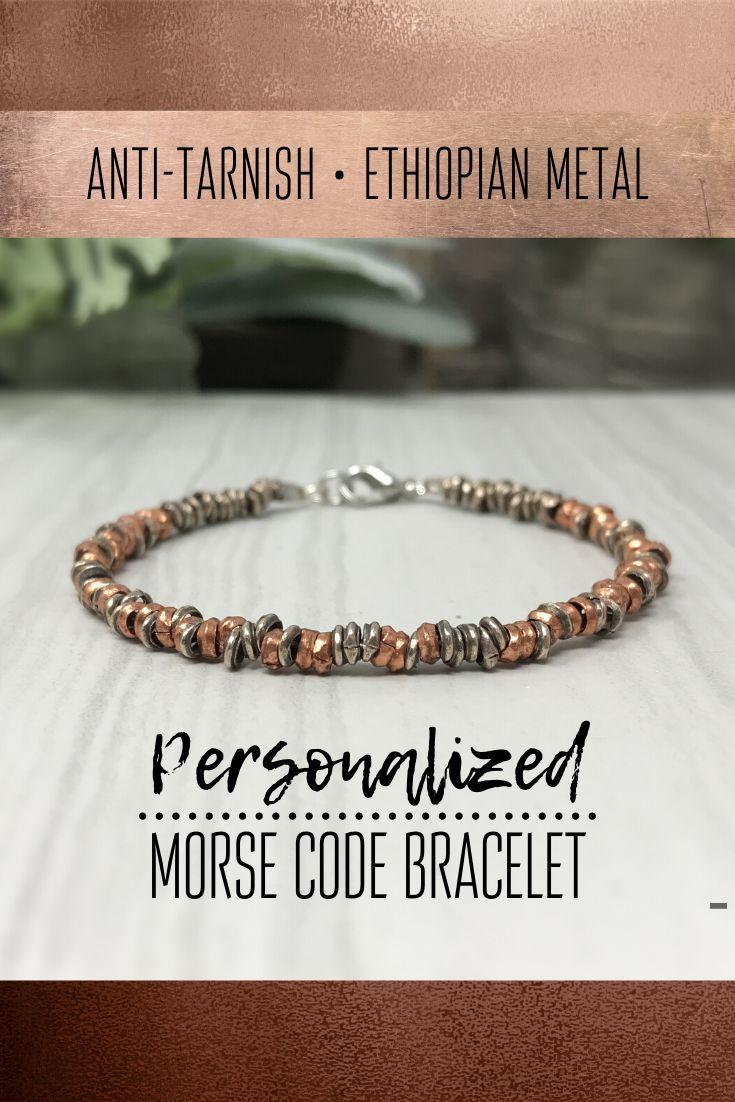 Custom morse code bracelet silver and copper heishi