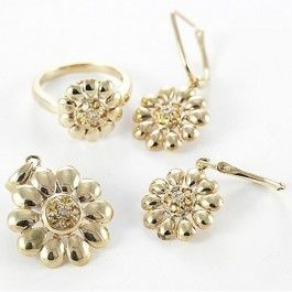 Seagull Gifts | 9ct Yellow Gold Citrine and Diamond Floral Ring Pendant Earring Set | seagullgifts.com.au