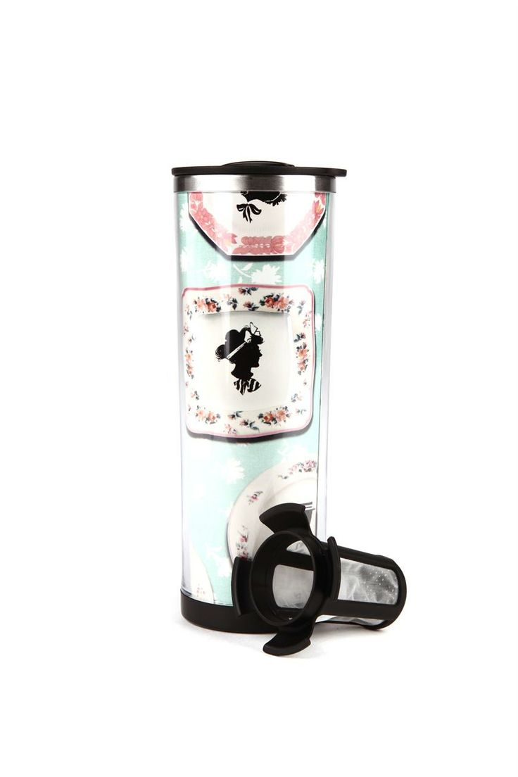 china pattern, tea travel mug with strainer